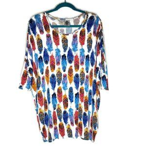 Agnes & Dora Feather Tunic Top Size 2XL